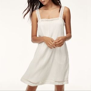 Wilfred Lèone White Lace Pocketed Mini Dress